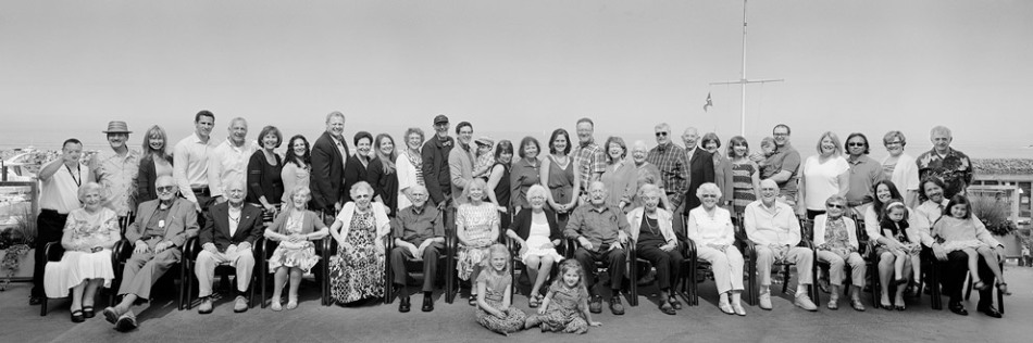 100 year old birthday party panoramic portrait